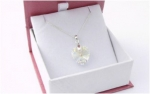 Brides Gift Necklace Sterling Silver and Crystal Heart