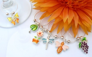 Summer Garden Wine Glass Charms - House Warming Gift