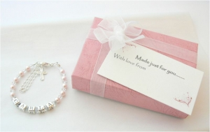 Childrens Name Bracelet - Silver Crystal and Pearl