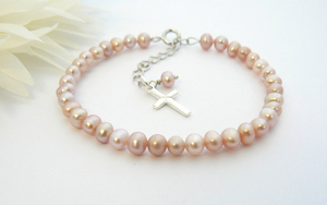 Freshwater Pearl and Sterling Silver Cross Charm Bracelet