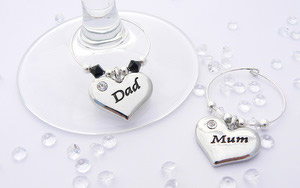 Mum and Dad Wine Glass Charms - Anniversary Gift