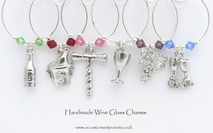 On The Vine Wine Glass Charms - Anniversary Party Gift