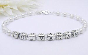 Personalised Bride and Groom Name Bracelet - Bridal Bracelet