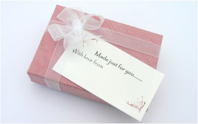 pink box for christening bracelet
