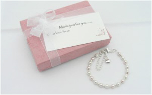 Pink Pearl and Sterling Silver Christening Bracelet