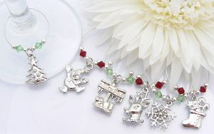 Christmas Wine Charms - Red and Green Crystals
