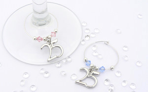 25th - Silver Wedding Anniversary Wine Glass Charms
