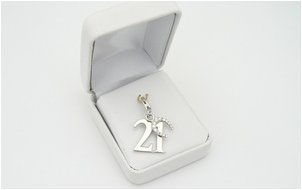 silver charm for 21st birthday