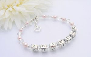 Open Heart Christening Name Bracelet