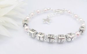 childrens name bracelet for christening gift