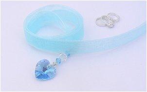 aqua crystal bouquet charm