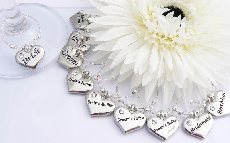 Wedding Top Table Wine Glass Charms - Set of 10