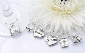 Wedding Day Wine Glass Charms - Set of 6